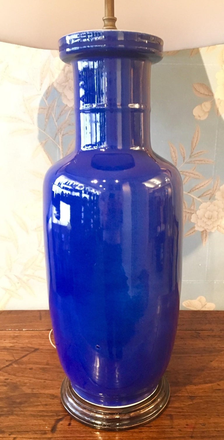 Chinese Cobalt Blue Vase Mounted as a Lamp For Sale