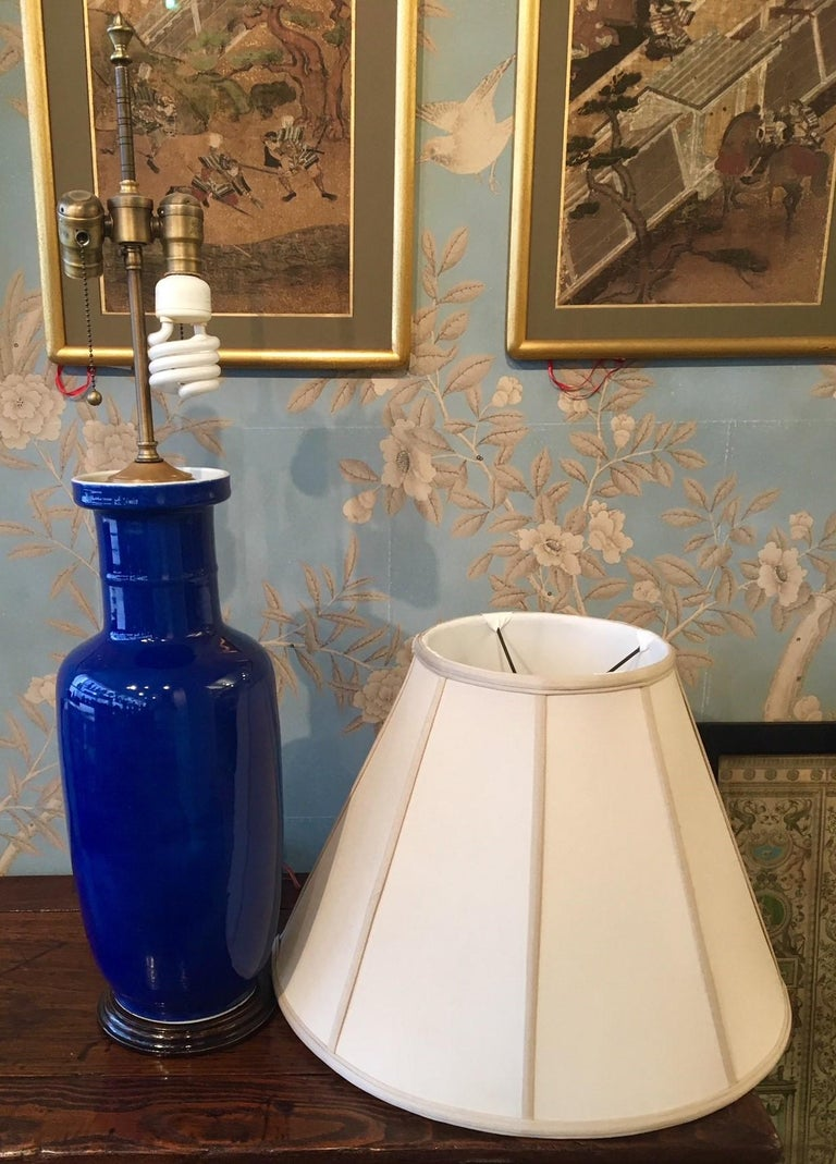 Porcelain Cobalt Blue Vase Mounted as a Lamp For Sale