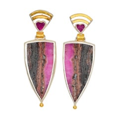 Cobalt Calcite Earrings in 22 Karat Yellow Gold and Silver
