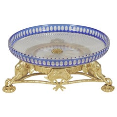 Cobalt Cut to Clear Crystal Centerbowl with Gilt Bronze Base