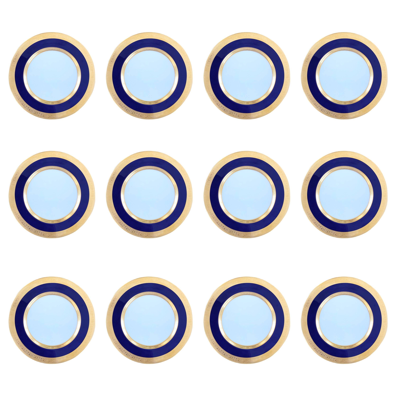 Cobalt & Gold Dinner Plate Set of 12