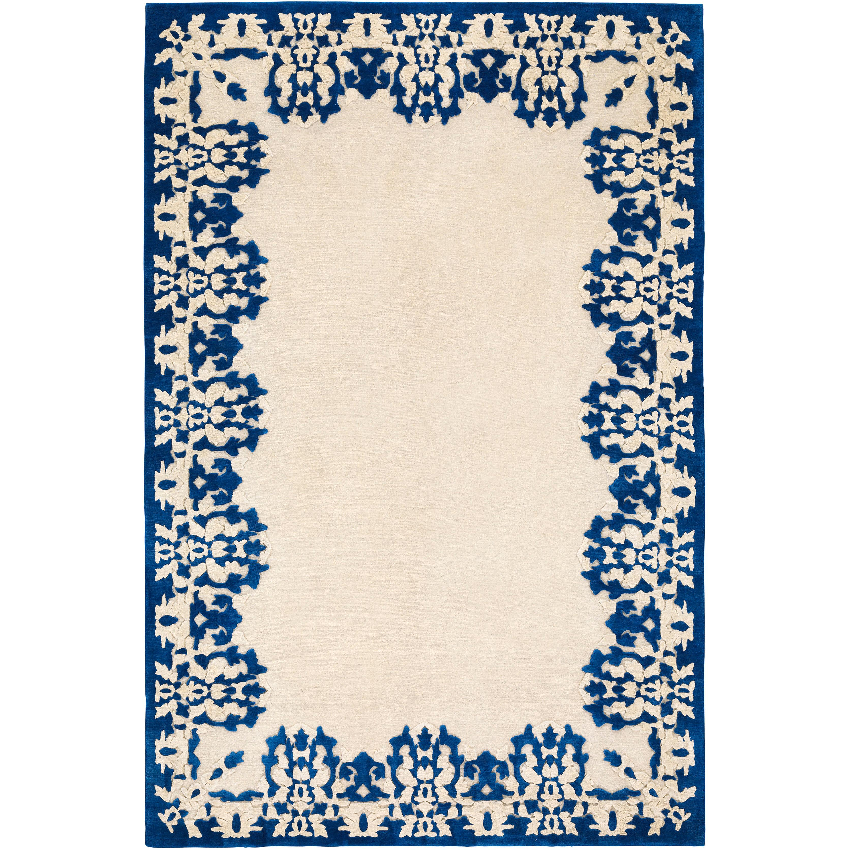Cobalt Hand-Knotted 10x8 Rug in Wool and Silk by Rodarte