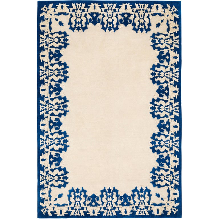 Cobalt Hand-Knotted 10x8 Rug in Wool and Silk by Rodarte For Sale