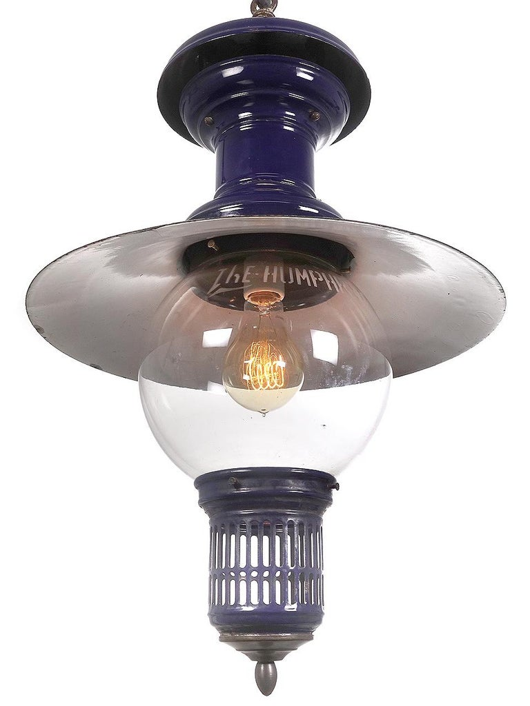 Industrial Cobalt Humphrey Gas Lamp, Newly Wired For Sale