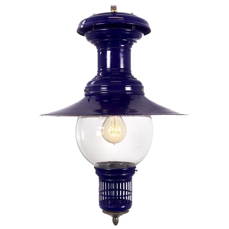 Cobalt Humphrey Gas Lamp, Newly Wired For Sale