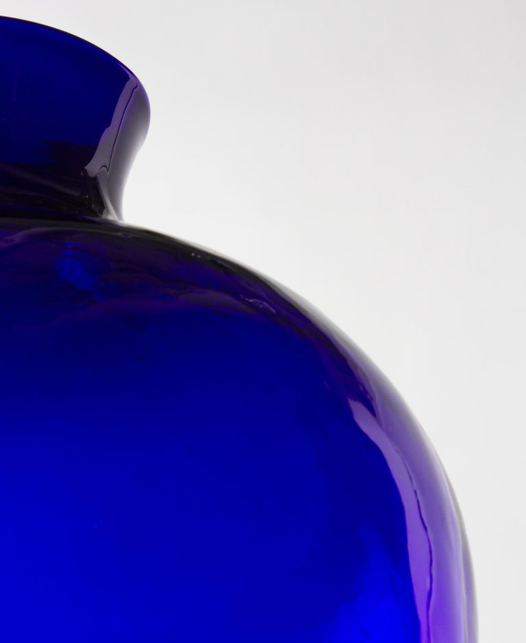 French Cobalt Glass Vase For Sale