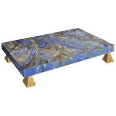 Modern Blue Coffee Table marbled Scagliola art Decoration Casted Brass Feet