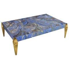 Modern Blue Coffee Table  Marbled Decoration Polished Brass Feet made in Italy