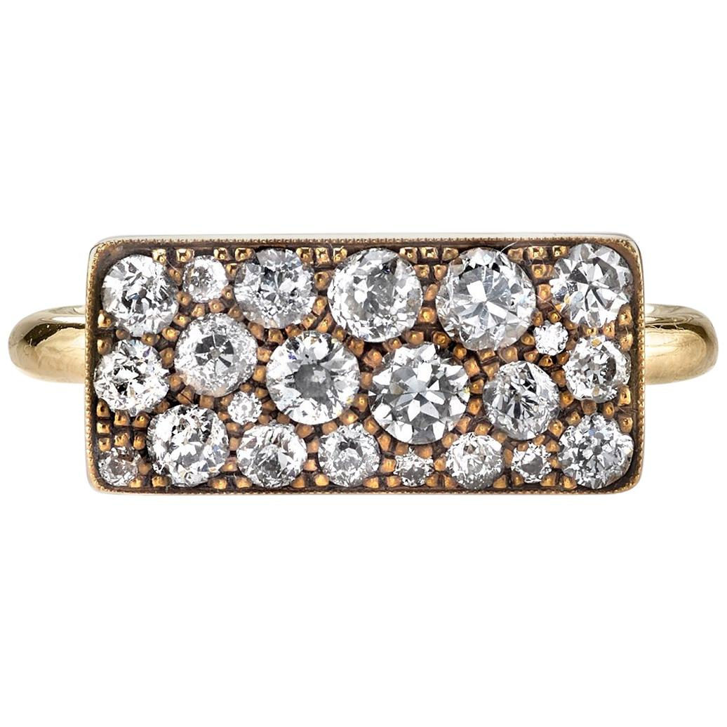 Approximately 0.95 Carat Mixed Cut Diamonds in a Handcrafted Yellow Gold Ring