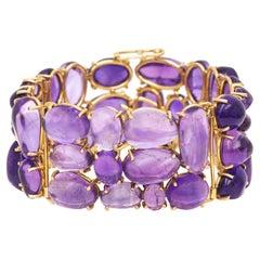 Cobblestone-Set Amethyst Gold Bracelet