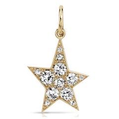 Handcrafted Cobblestone Star Mixed Diamond Pendant by Single Stone