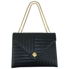 Coblentz Black Leather Handbag With Gold Convertible Chain, 1960's