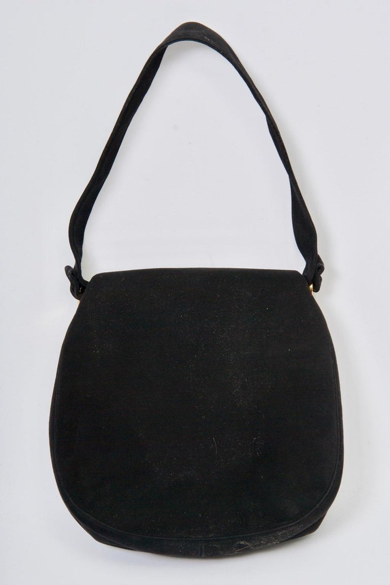 Coblentz Black Suede Bag, c.1960 In Good Condition For Sale In Alford, MA