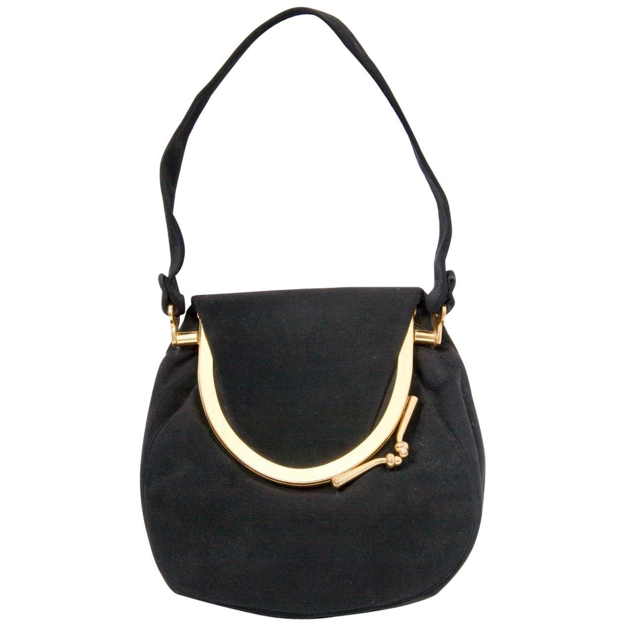Coblentz Black Suede Bag, c.1960