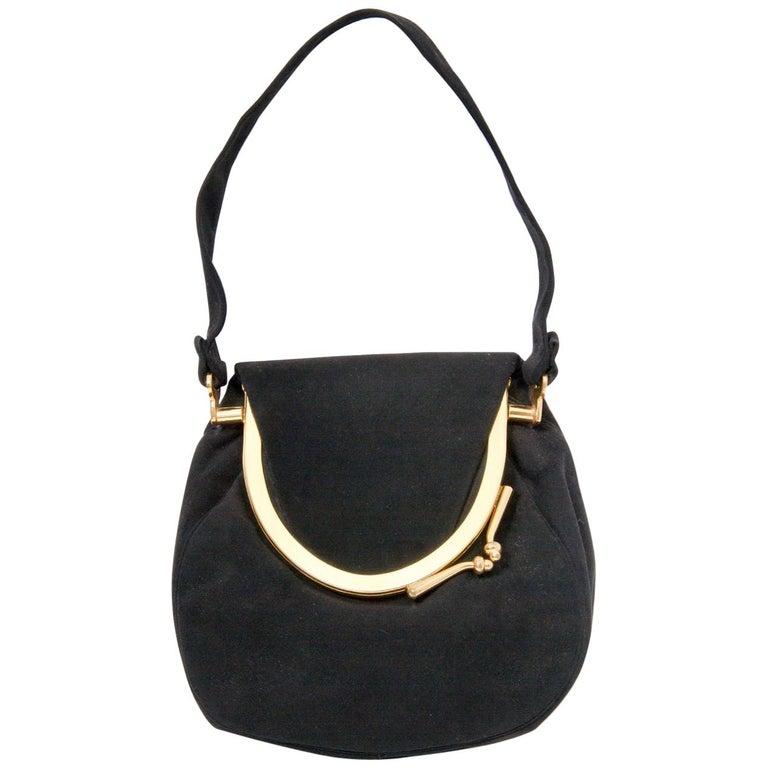 Coblentz Black Suede Bag, c.1960 For Sale