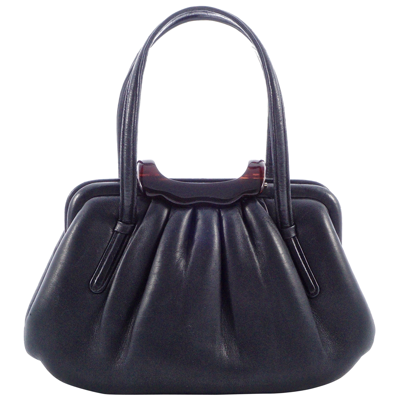 Coblentz Italian Soft Black Leather Handbag with a Faux Tortoiseshell Clasp