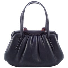Coblentz Italian Soft Black Leather Handbag with a Faux Tortoiseshell Clasp
