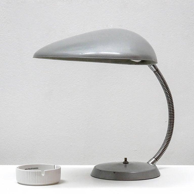 Iconic cobra lamp by Greta M. Grossman for Ralph O. Smith, circa 1950 in grey gun metal finish.
