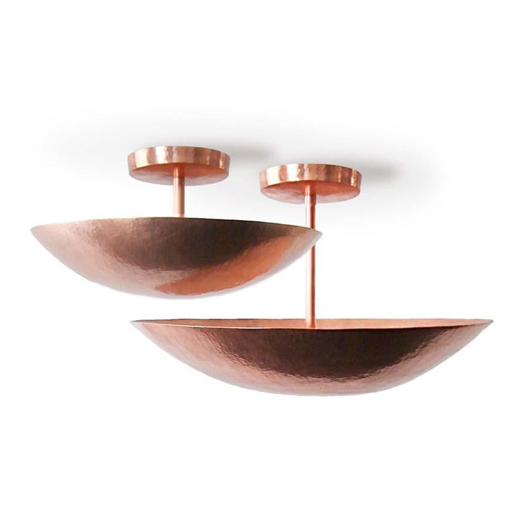 Cobre Collection, Pendant Light in Hammered Copper,  Olla, Size B 3