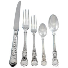 Coburg CJ Vander English Sterling Silver Flatware Set 12 Service Dinner 61 Pcs