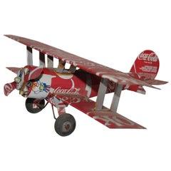 Coca-Cola Airplane Handmade Tin Biplane