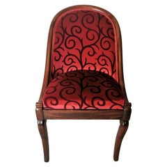 Cockpit Chair in Mahogany Upholstered Velvet Dedar France Late Empire