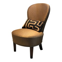 Cocktail Chair with Antique Kuba Cloth and Pierre Frey Fabric