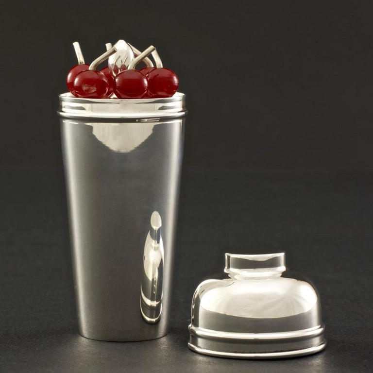 British Cocktail Cherry Sticks in a Silver Plated Miniature Cocktail Shaker, circa 1935 For Sale