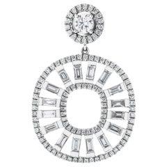 Cocktail Diamond Earrings with Baguette Diamonds