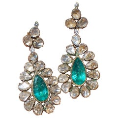 Cocktail Drop Pear Shaped, Emerald Earrings, with Antique Slice Diamonds