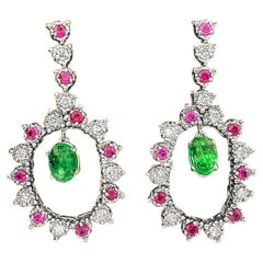 6.00 Carat Cocktail Emerald Diamond Ruby Dangle Earrings