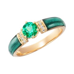 Cocktail Emerald Green Enamel Ring in Yellow Gold with Diamonds