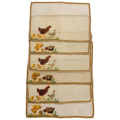 Cocktail Napkins with Hand Embroidered Rooster, Hen and Chick Motif, Set of Six