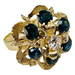 Cluster Ring of Sapphires, a Cubic Zirconia Set in 18 Karat Gold