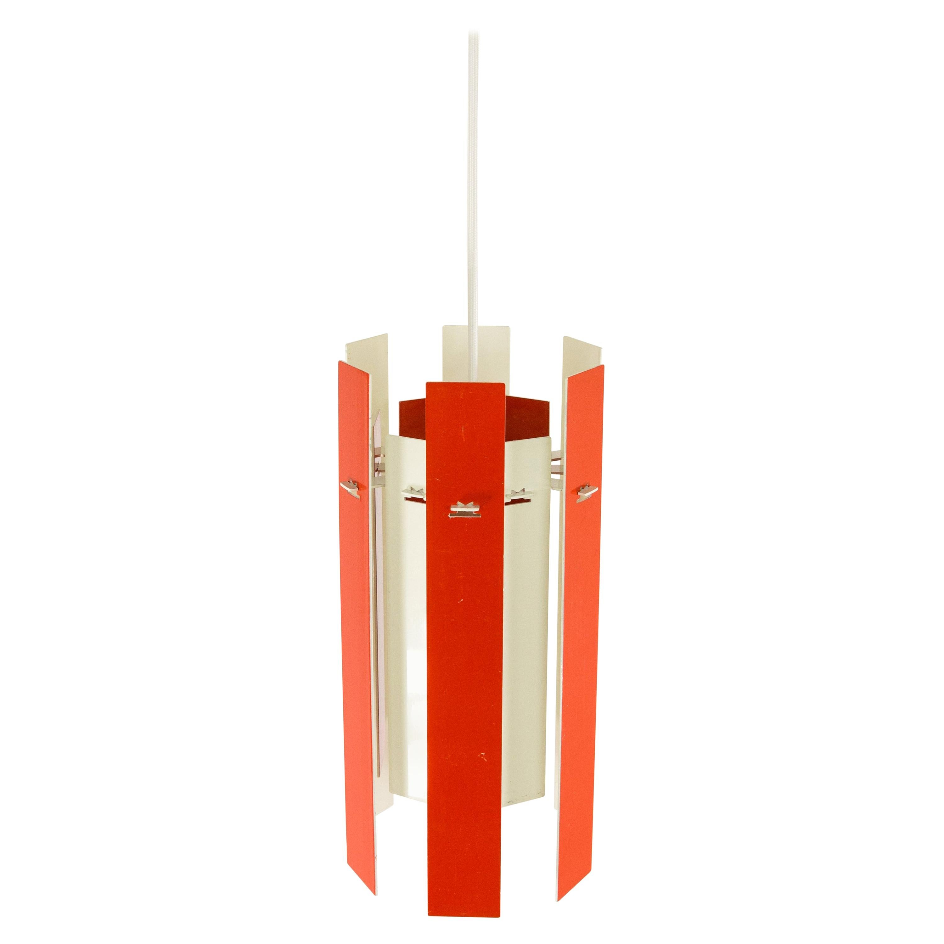 Cocktail Pendant by Henning Rehhof for Fog & Mørup in Red and White, 1970s