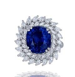 Cocktail, Platinum, 8.26 CT. Sapphire, GIA 1.65 Ct Diamond Ring