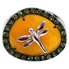 """Cocktail Ring 18 Karat White Gold and Jade Dragonfly """"A Dragonfly in Amber"""""""