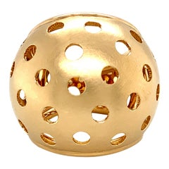 Georg Spreng - Cocktail Ring Sphere Ball 18 Karat Yellow Gold Medium Perforation