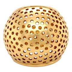 Georg Spreng - Cocktail Ring Sphere Ball 18 Karat Yellow Gold Small Perforations