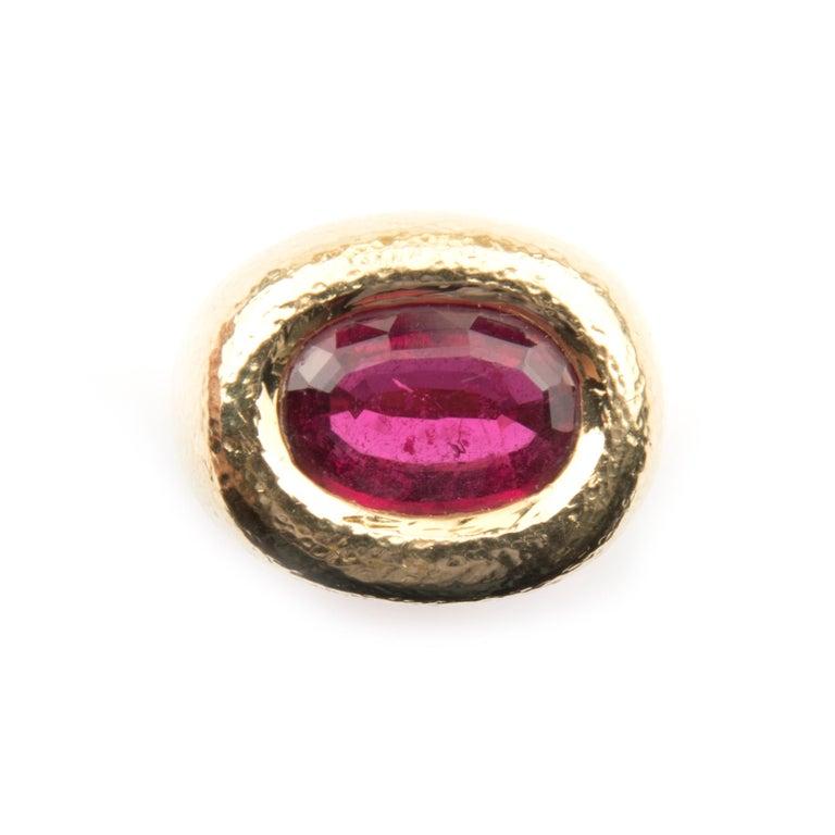 Women's or Men's Cocktail Ring, 18 Karat Yellow Gold Tourmaline Rubelite by David Webb For Sale