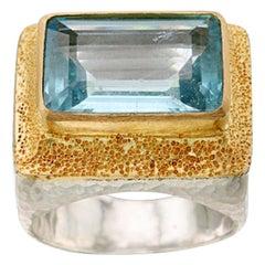 Cocktail Ring 7.4 Carat Aquamarine Sterling Silver 18K Gold