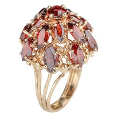 Cocktail Ring Cinnamon Garnets Midcentury Glam