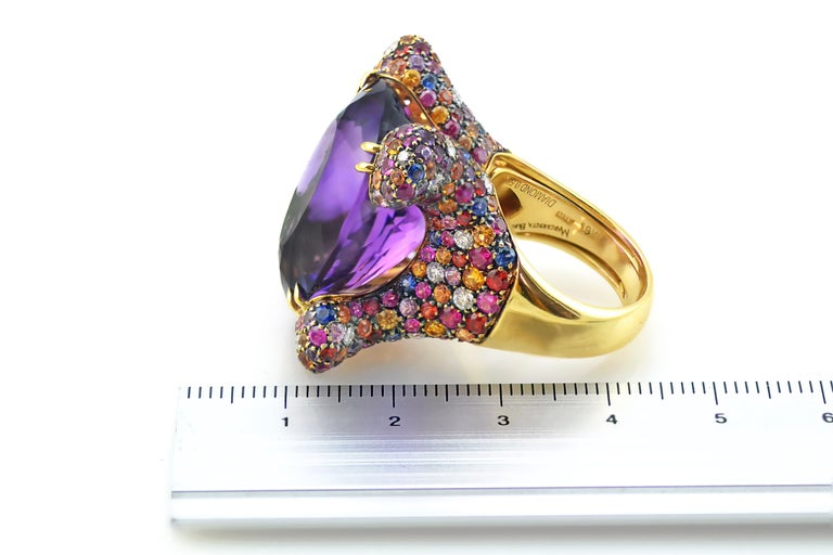 Oval Cut Margherita Burgener Handcrafted Diamond Sapphire Pink Gold  Cocktail Ring For Sale