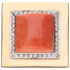 Cocktail Ring Salmon Colored Coral and Diamonds 18 Karat Rose Gold