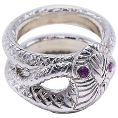 Pink Sapphire Snake Silver Ring Cocktail Ring Victorian Style J Dauphin