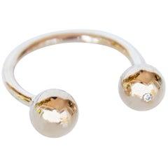 Cocktail Ring White Diamond Gold Balls Open Adjustable J Dauphin