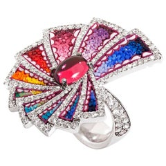 Cocktail Ring White Gold White Diamonds Rubelite Hand Decorated with Micromosaic