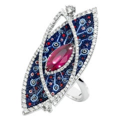 Cocktail Ring White Gold White Diamonds Ruby Hand Decorated with Micro Mosaic