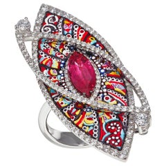 Cocktail Ring White Gold White Diamonds Ruby Hand Decorated with Micromosaic