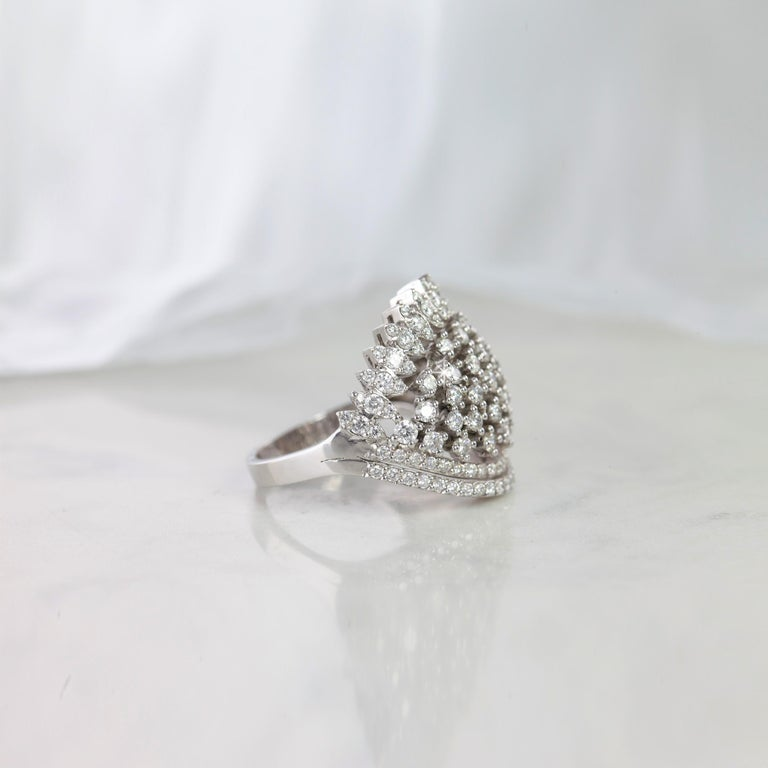 Cocktail Ring With 1.52 E-F VS Quality Fine Jewelry (Engagement Ring, Statement Ring Gift For Her) created by hands from ring to the stone shapes.  I used brillant round cut diamonds for lovers of cocktail ring. I completed these in 18K solid